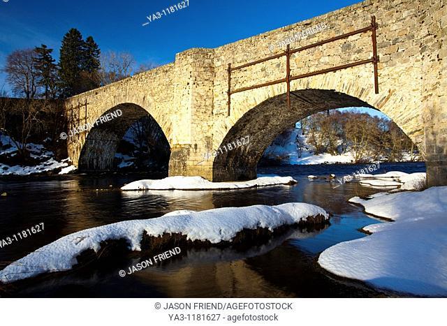 Scotland, Scottish Highlands, Cairngorms National Park  The Old Spey bridge, near Grantown on Spey