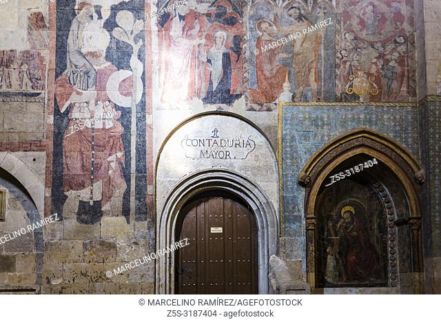 fresco mural. Old Cathedral, one of the two cathedrals of Salamanca, Castilla y Leon, Spain, Europe