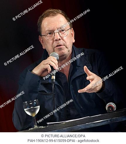 "12 June 2019, Berlin: Rene Pollesch, theatre director and author, speaks at a press conference on the """"Future of the Volksbühne"""""