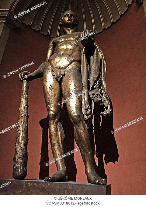 Vatican Museum, Rome, Italy, The bronze gilded cult statue of Hercules of the Theatre of Pompey in the Round Room, Sala Rotonda