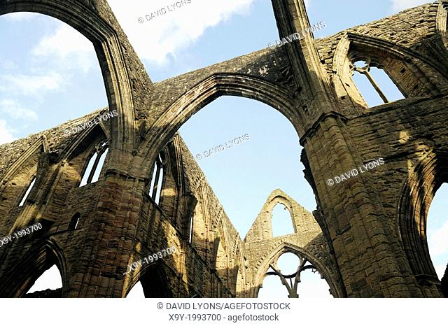 Tintern Abbey in the Wye Valley, Monmouthshire, Wales, UK. Cistercian Christian monastery founded 1131. Central transept arches