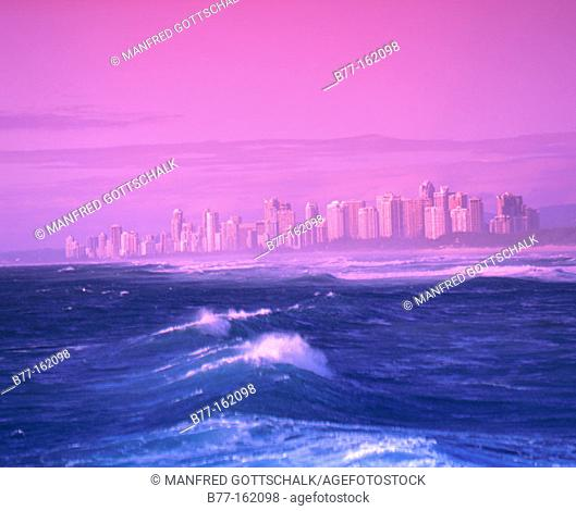 Sea view of the Gold Coast skyline. Queensland. Australia