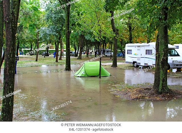 Flooded campsite near Venice, after a storm