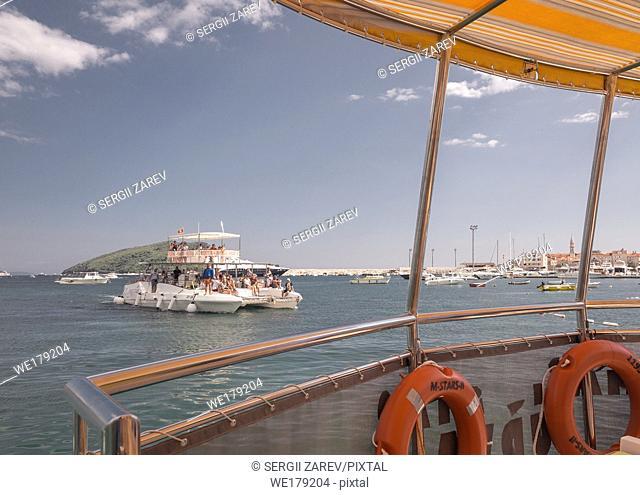 Budva, Montenegro - 07. 10. 2018. Boat trip along the coast of the resort of Budva in Montenegro on a sunny summer day