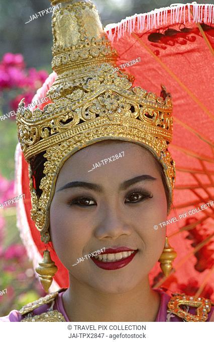 Girl Dressed in Traditional Dancing Costume / Portrait, Bangkok, Thailand