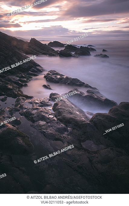 This little beach is on the border between Basque country and spain, it's called Kobaron, and it has amazing sunsets