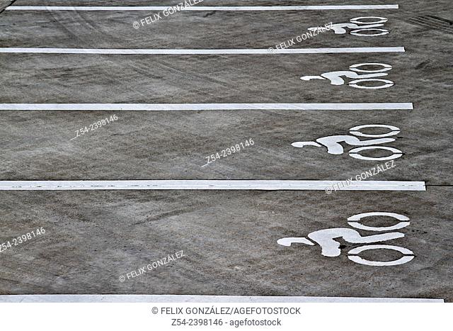Parking for motorcycles or scooters, Aviles, Asturias, Spain