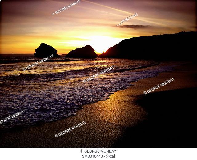 Seascape at Ballydowane Cove, Near Bunmahon, The Copper Coast, County Waterford, Ireland