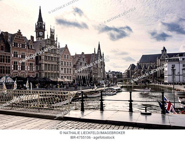 River Leie with promenade at the Graslei, old guild houses, Old Town, Ghent, Belgium