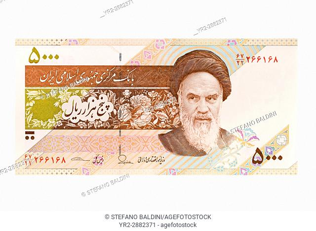 Iranian five thousand rial banknote on a white background