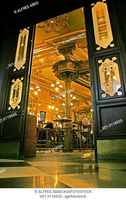 Door of the famous Cafe Iruña, Pamplona, Navarra, Spain