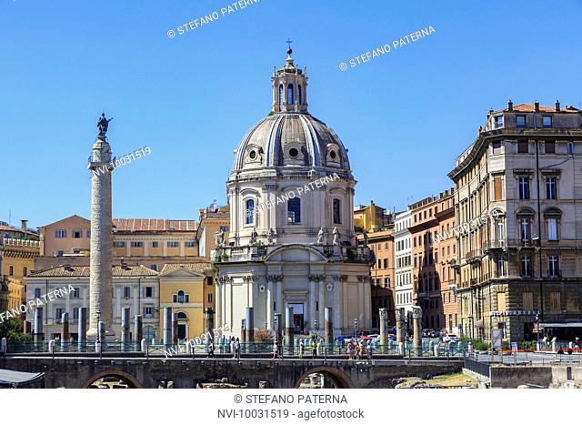 Trajan's Column and Chiesa del santissimo nome di Maria al Foro Traiano, Trajan's Forum, Rome, Lazio, Italy