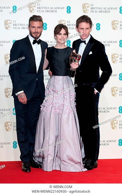 EE British Academy Film Awards (BAFTA) at The Royal Opera House - Winners Room Featuring: David Beckham, Felicity Jones, Eddie Redmayne Where: London
