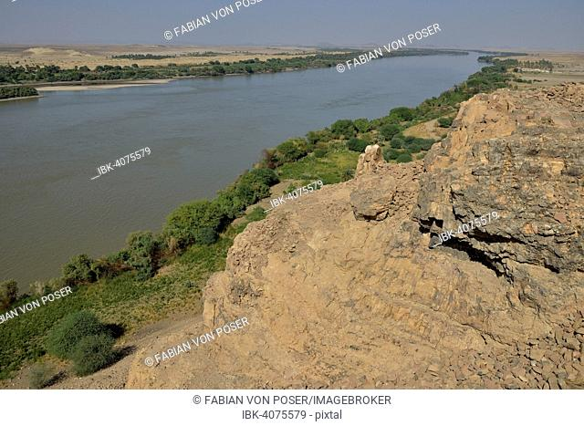 Landscape at the third cataract of the Nile at Kerma, Northern, Nubia, Sudan