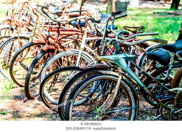 Rusty old Bikes in a Junkyard