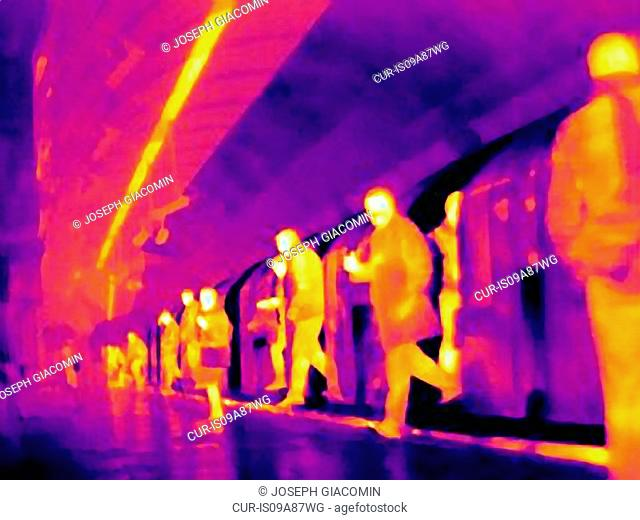 Thermal image of underground and commuters