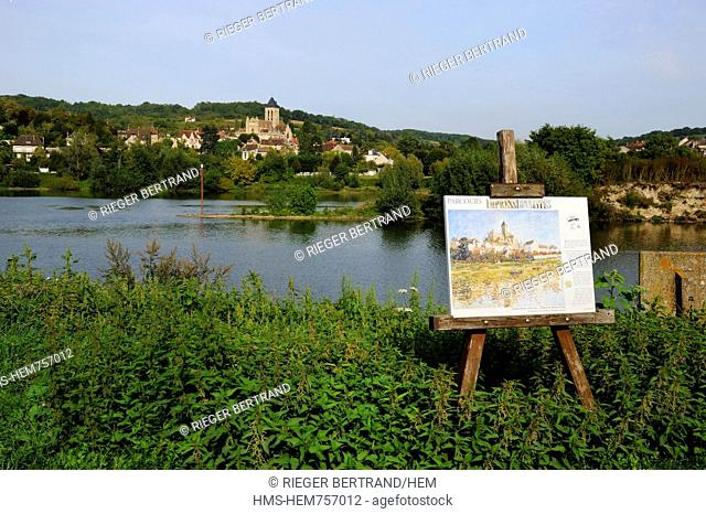 France, Val-d'Oise, Vetheuil village and its Notre Dame church painted by Claude Monet overlooking the Seine river