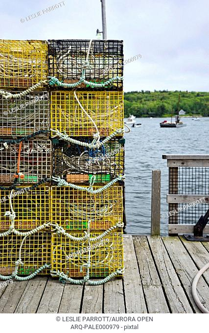 Lobster traps stacked on a dock, Round Pond, Bristol, ME