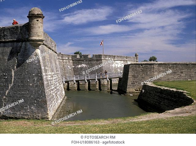 St. Augustine, fort, Florida, The Spanish fortress of Castillo de San Marcos National Monument in The Old City of Saint Augustine in the state of Florida