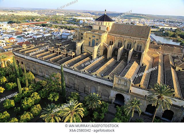 Raised angle view of Mezquita cathedral former mosque building in central, Cordoba, Spain