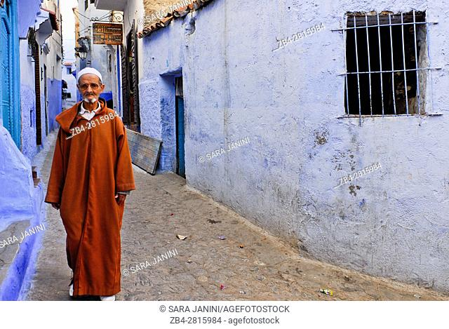 Street scene in the atmospheric blue town of Chefchaouen or Chaouen, Rif Region, Morocco, North Africa