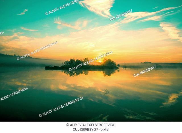 Mist over lake, Ural, Sverdlovsk, Russia