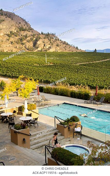 Burrowing Owl Estate Winery, swimming pool, Oliver, Okanagan Valley, British Columbia, Canada