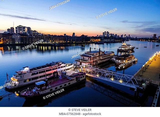 England, London, Dawn over Docklands and River Thames