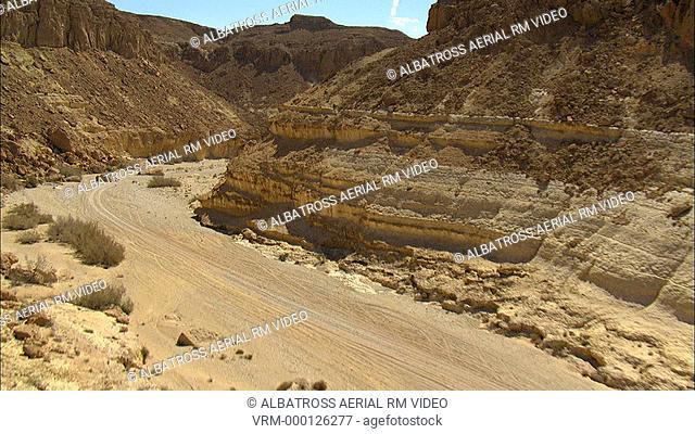 Aerial footage of Nekarot Wadi in the Negev Desert