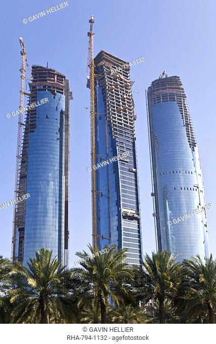 New tall office building construction, Abu Dhabi, United Arab Emirates, Middle East
