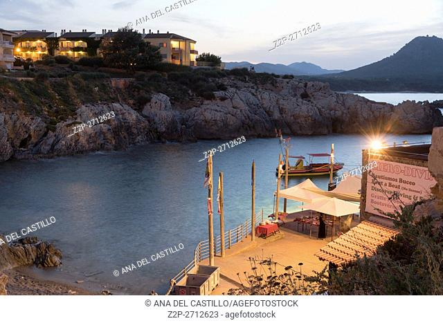Night seascape in Cala Ratjada Majorca island Balearics Spain. Cala Lliteres
