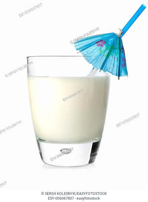 Milk cocktail in a glass isolated on a white background