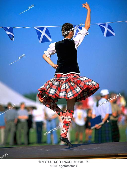 Highland dancer. Edinburgh. Scotland