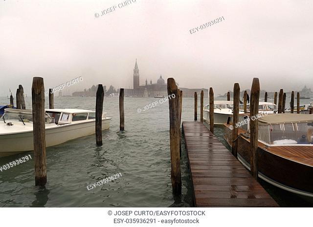 San Giorgio Maggiore rain, Venice, Italy