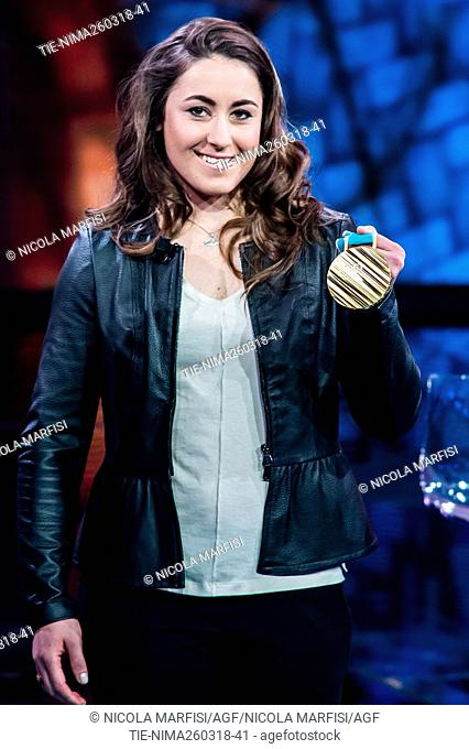 Sofia Goggia, Olympic champion skier and world cup winner during the tv show Che tempo che fa, Milan, ITALY-25-03-2018
