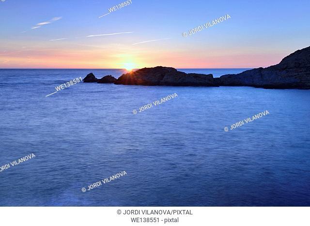 Sunrise in Costa Brava, Sa Tuna, Begur, Catalonia, Spain