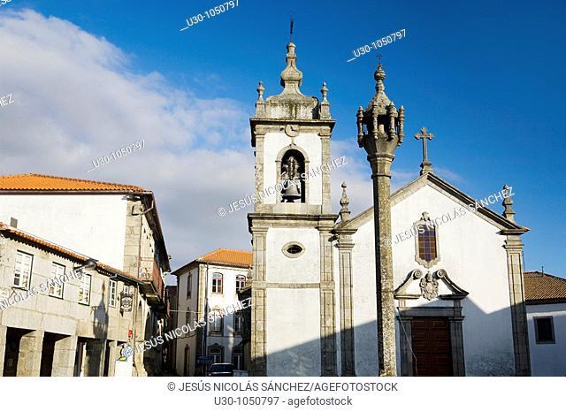 Pillory and San Pedro Church  Trancoso village, in Beira Alta  Guarda District  Portugal