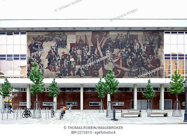 Dresden Palace of Culture, conference and event building, mural depicting The Path of the Red Flag, Dresden, Saxony, Germany, Europe, PublicGround