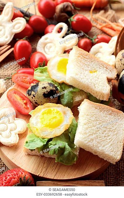Sandwich bread with quail eggs of delicious
