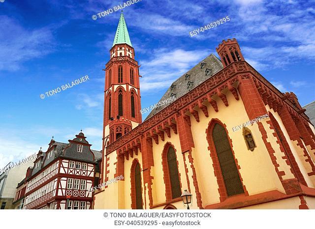 Frankfurt Alte Nikolaikirche church in Romerberg square at Germany