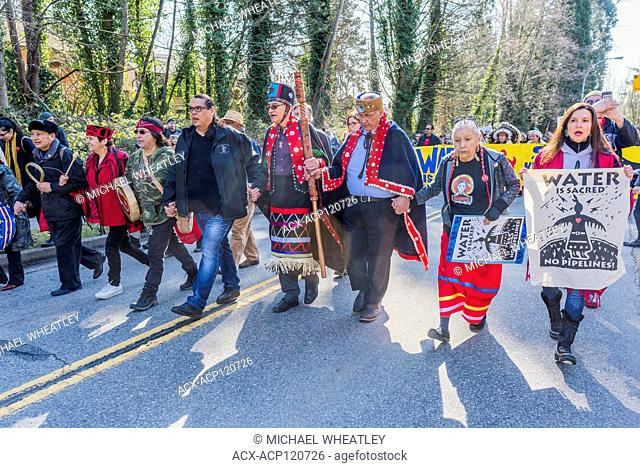 Indigenous Chiefs and elders lead Anti Kinder Morgan Pipeline March, Protect the Inlet, Kwekwecnewtxw, Burnaby BC, Canada