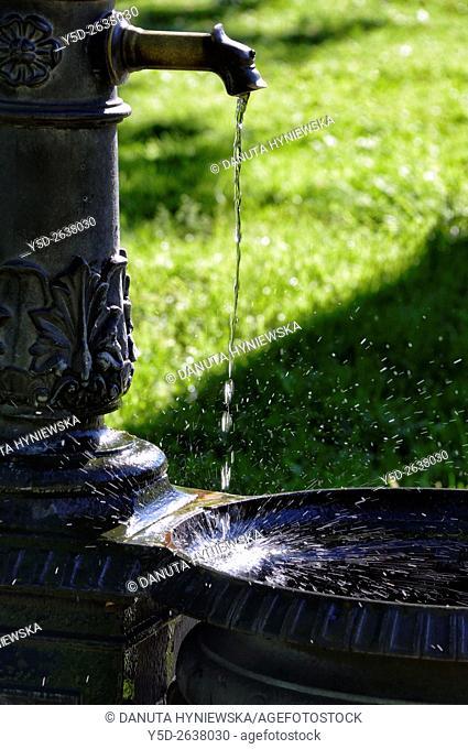 street fountain in Park Perle du Lac, Geneva, Switzerland, Europe