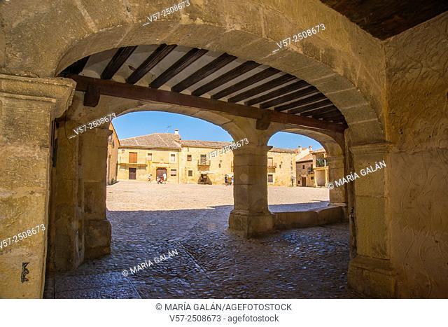 Main Square from the arcade. Pedraza, Segovia province, Castilla Leon, Spain