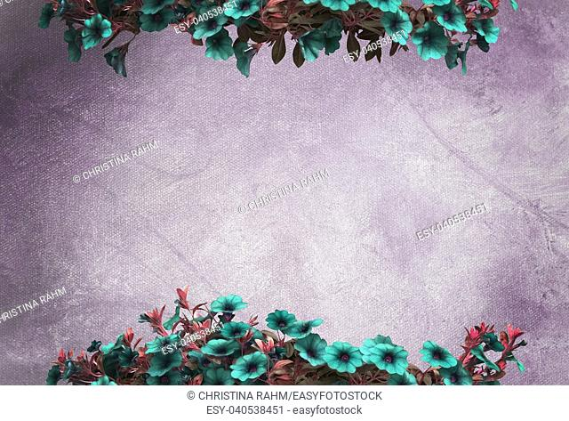 Green petunias on purple oil painting canvas background copy space texture