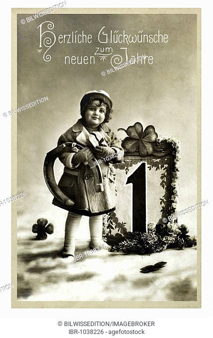 Historical New Year greetings card, girl with big 'one', horseshoe and cloverleaves, Herzliche Glueckwuensche zum neuen Jahre, Best new year wishes