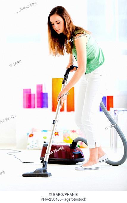 Woman vacuuming