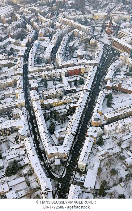 Aerial view, street triangle with Wideystrasse, Agustastrasse and Bruederstrasse, Witten, Ruhr Area, North Rhine-Westphalia, Germany, Europe