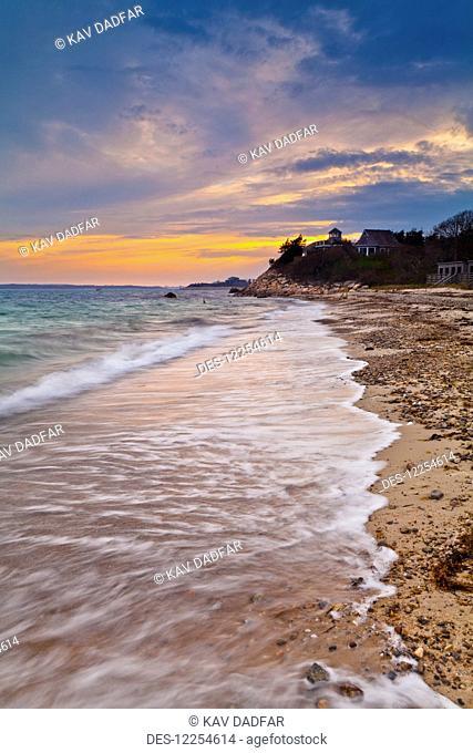 Coastline of Cape Cod at dusk; Falmouth, Massachusetts, United States of America