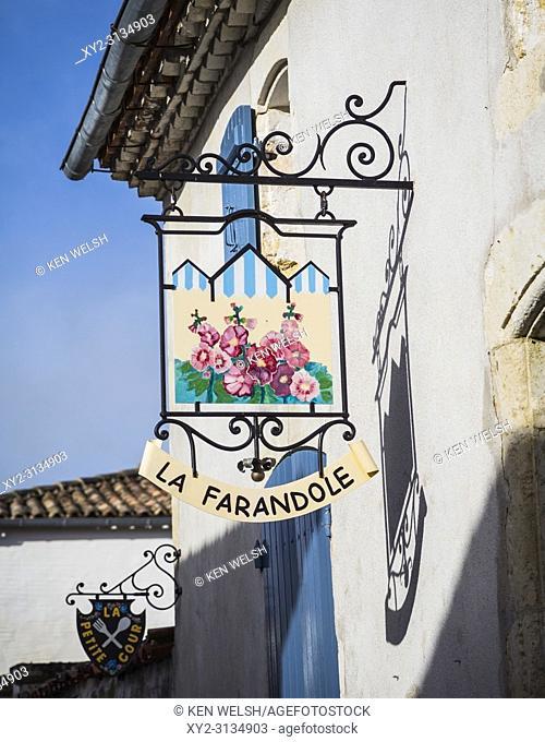 Talmont-sur-Gironde, Charente-Maritime department, Nouvelle-Aquitaine, France. La Farandole restaurant sign