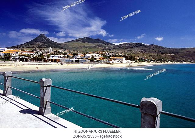 a Beach on the Island of Porto Santo ot the Madeira Islands in the Atlantic Ocean of Portugal